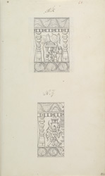 Narrative sculpture on the south side of the Amritesvara Temple at Amritpur, 1805. Details from the Ramayana frieze f.86